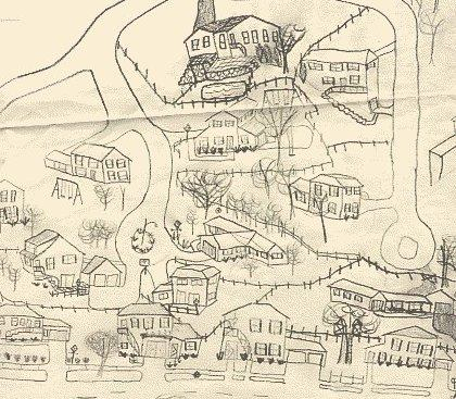 Streets and homes in early drawing
