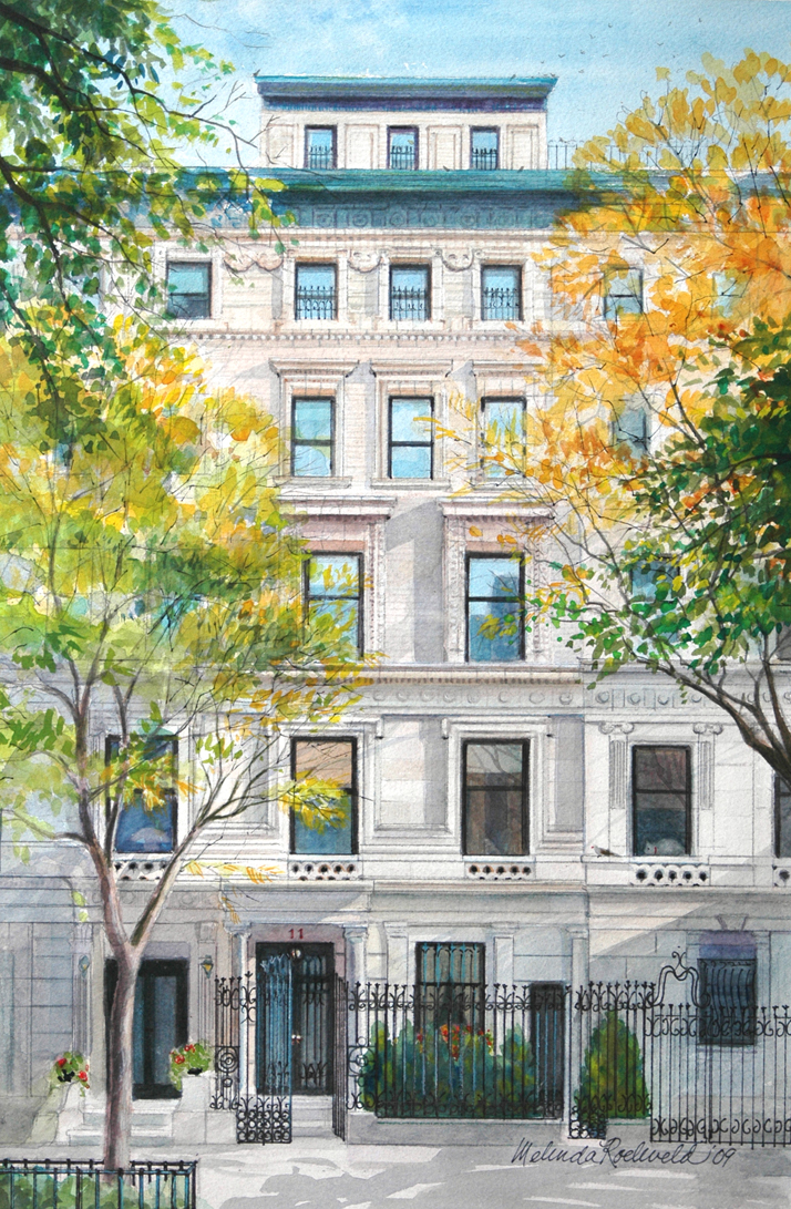 Watercolor of NYC townhouse