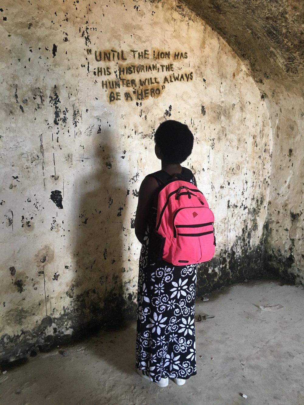 Nadia at Slave Fort.JPG