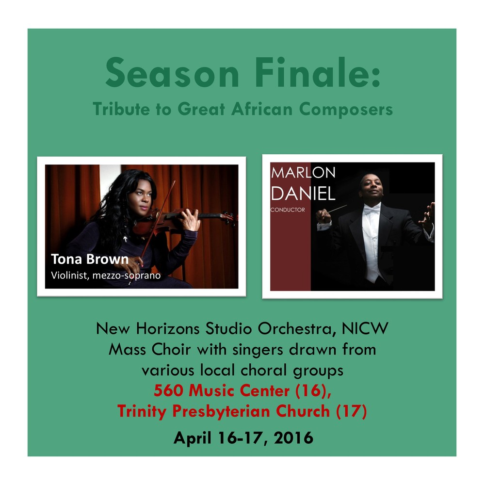 560 Music Center (April 16, 2016), 7:30PM Trinity Presbyterian Ch. (April 17, 2016), 3:00PM
