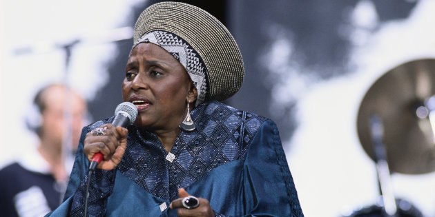 GIDEON MENDEL/ CORBIS/ GETTY IMAGES The late prominent South African singer Miriam Makeba singing at the Nelson Mandela Freedom Festival at Clapham Common in London.