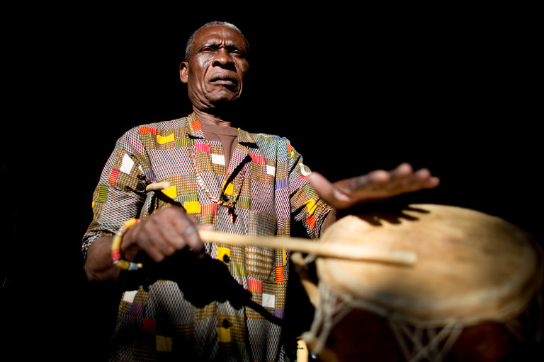 A Servant of Rhythm From Ghana, in Texas. NYT article by FINN COHEN profiles Ghanaian Master Drummer Gideon Foli Alorwoyie. (Photo credit Allison V. Smith for The New York Times). Book & CD combo published by AM Publishers, a subsidiary of the African Musical Arts. For full article, https://www.nytimes.com/2017/04/21/arts/music/gideon-alorwoyie-university-of-north-texas-ghana-steve-reich.html