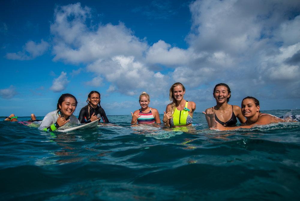 From left to right: Sara Wakita (Oahu), Tatiana Ebro (Maui), Gabbi Bryan (Kauai), Bethany Hamilton, Keala Tomoda-Bannert (Kauai), Kahanu Delovio (Big Island).