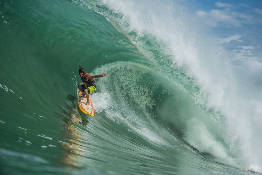 Surfer Marcelo Mota from Brasil charging on real Zicatela summer bomb.