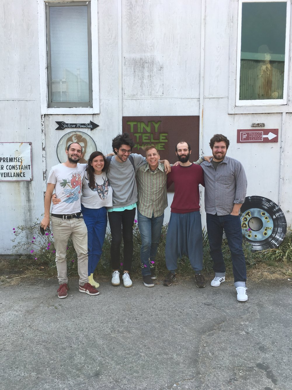 From left to right: Jeremie Revel, Gina Été, Omar Akrouche (engineer, assistant), John Vanderslice (producer), Noé Franklé, Phillip Klawitter