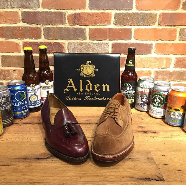 Brews and shoes today in the shop Alden shoes trunk show #aldenarmy come on in for incredible shoes and a gift with purchase