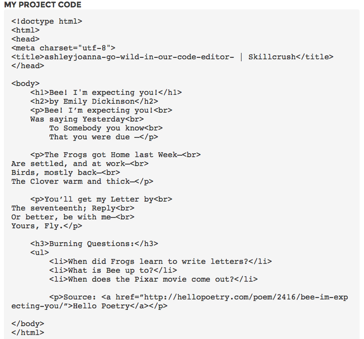 Poem HTML coding