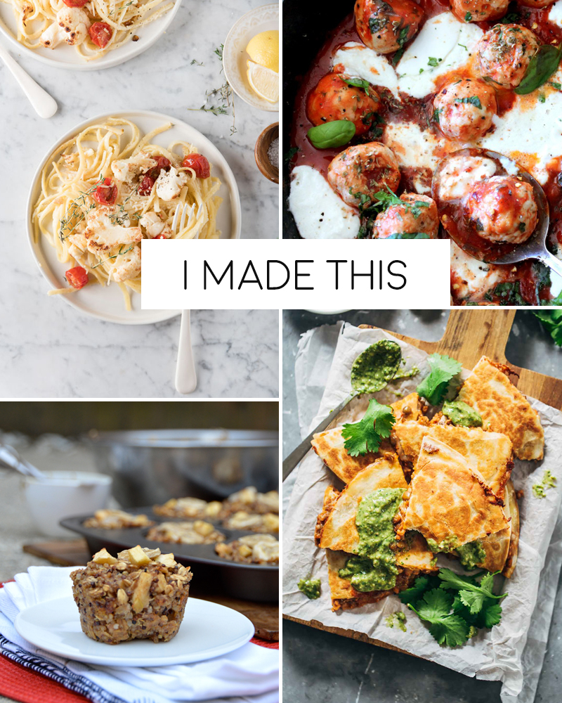 I made this | Creamy Roasted Cauliflower Pasta, Turkey Meatballs in Spicy Tomato Basil Sauce, Lentil Quesadillas, Apple Banana Quinoa Breakfast Cups