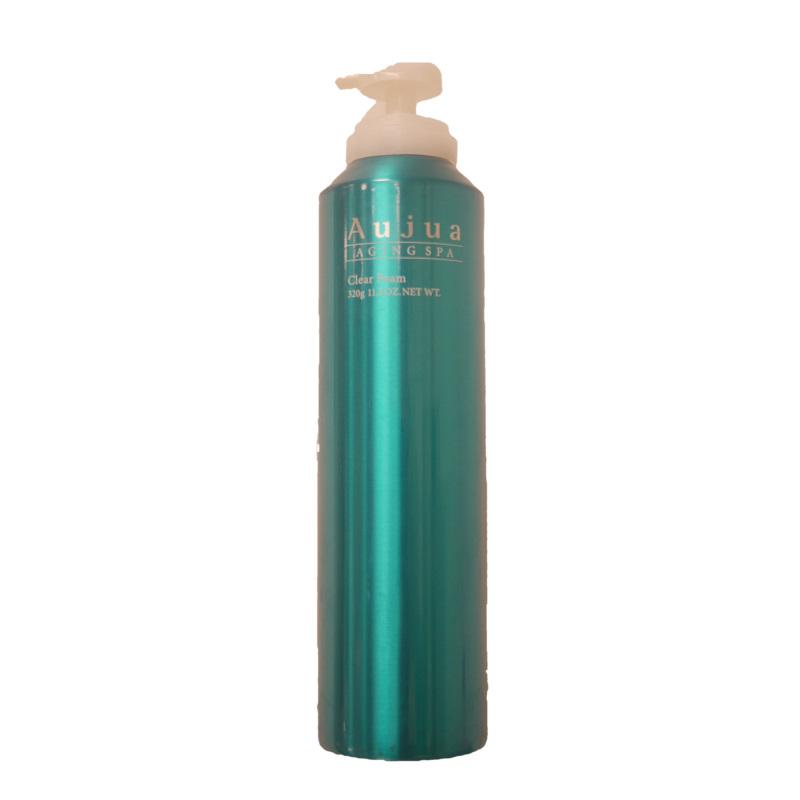商品名:エイジングスパ クリアフォーム  名称:炭酸シャンプー  香り:菖蒲  効能:炭酸泡で血行促進。皮脂汚れを取り健やかな地肌へ。