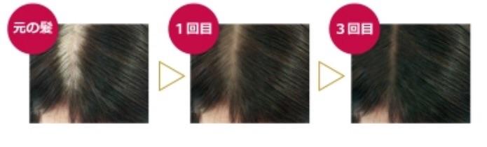 白髪を隠しながら、使うたびに徐々に染まっていきます。  化学反応を伴わない染毛料なので、毎日使っても髪が傷みません。