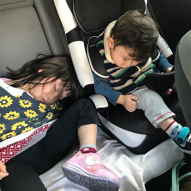 今日は台風の影響で保育園午後からだったから一日遊んでたけど子供は元気だわ!笑  #台風#保育園#お休み #車の中#爆睡#てか#寝方#笑 #姪っ子 と#甥っ子