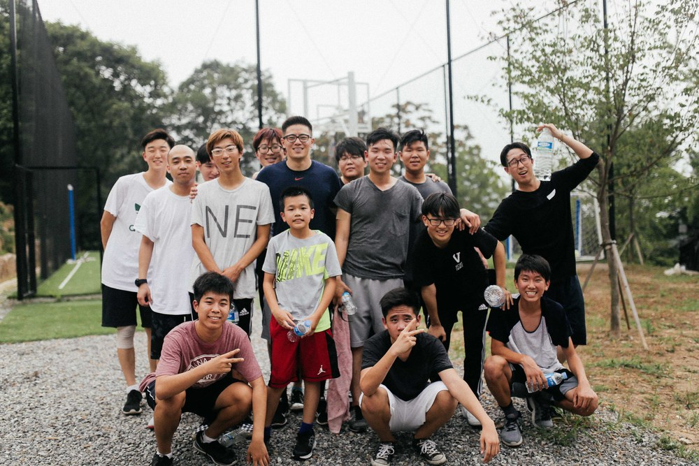 Some of the boys played ball after practice at the basketball courts near our place.