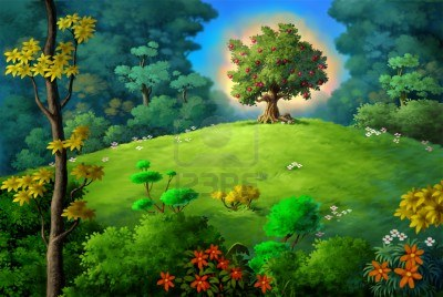 202585-a-fruit-tree-glowing-on-top-of-a-small-hill