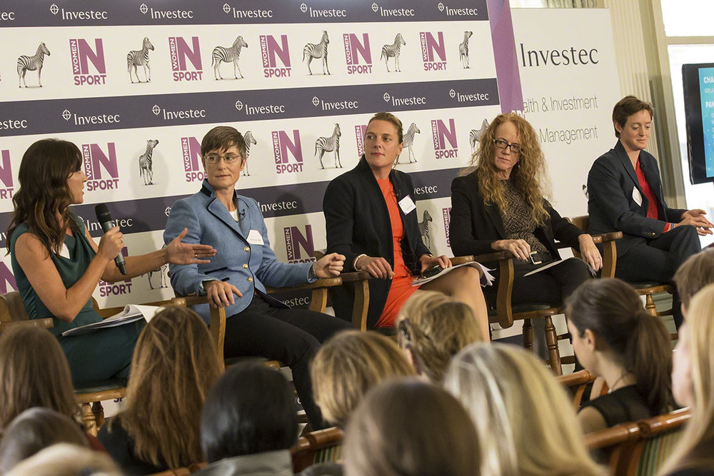 (L-R) Orla Chennaoui, Claire Taylor MBE, Catherine Taylor, Sally Hancock, Hannah Macleod  Women in Sport conference / Investec at Lord's Cricket Ground Pavilion  © Copyright 2017 Rebekah Taylor. All Rights Reserved.