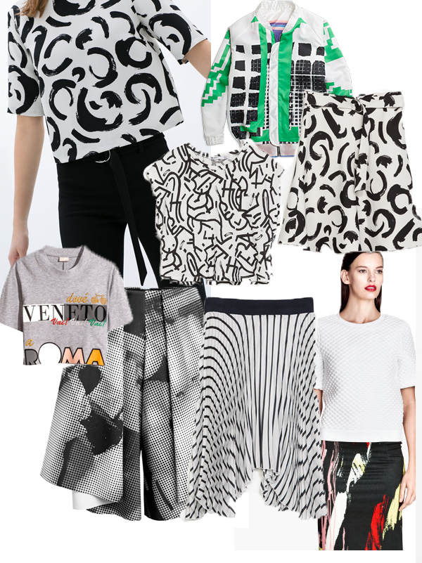 Skinny trouser with belt and printed top /Zara.Bomber/Lindex.Printed crop t-shirt/Zara. Printed skirt with buckle/Zara. Grey printed crop top/H & M.Graficscuba shorts/Lindex. Pleated striped skirt /Zara.White crop top and printed skirt/H & M.