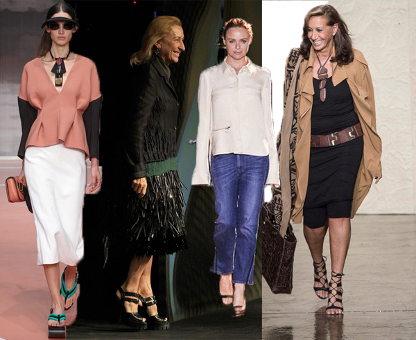 1. Marni S/S 2014, designed by Consuelo Castiglioni. 2. Miuccia Prada thanks the crowd after showing her latest collection, dressed in blacklike a true fashionista. 3. Stella McCartney is realxed and cool after her show in Paris in February. 4. Donna Karan after her New York show.