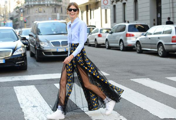 Valentino high fashion skirt, and shirt too I think paired with Nike kicks.