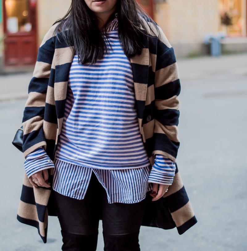 Coat/Lindex. Striped sweater/vintage. Striped skirt/Ralph Lauren. Skinny jeans/Never Denim. Over-the-knee-boots/H & M. Bag/Céline.