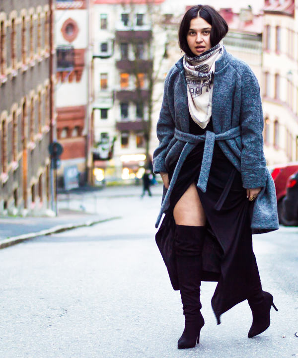 Wearing: Rebecca Pirosanto jacket. Ganni scarf. Old wrap dress and H & M boots.