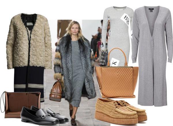 Coat, By Malene Birger. Metallic clutch, Marni. Horsebit loafers, Gucci.Flatforms, AcneStudios. Leather tote, Michael Kors. Long cardigan, Ellos. Grey dress, BACK.