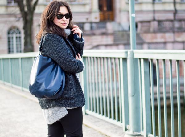 Jacket/Mango. Knit/H&M. Flares and bag/Zara. Flats/Céline.