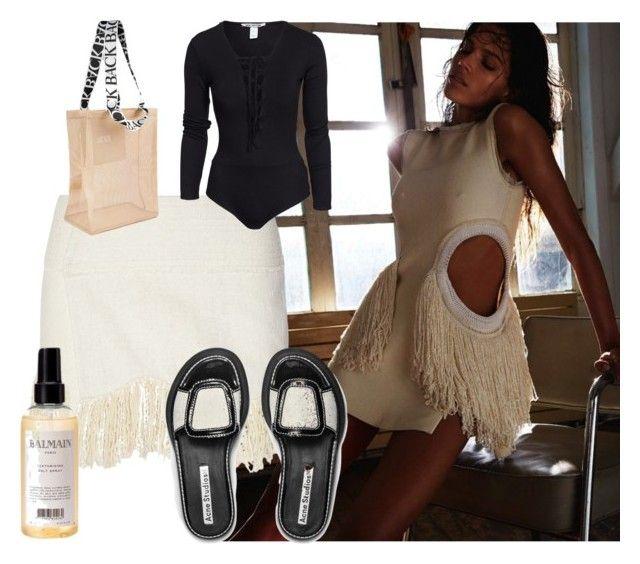 Beach bag, BACK.Lace up body, Nelly.com. Skirt, Isabel Marant.Salt Spray, Balmain.Slippers,Acne Studios.