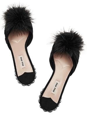 miu miu embellished slippers