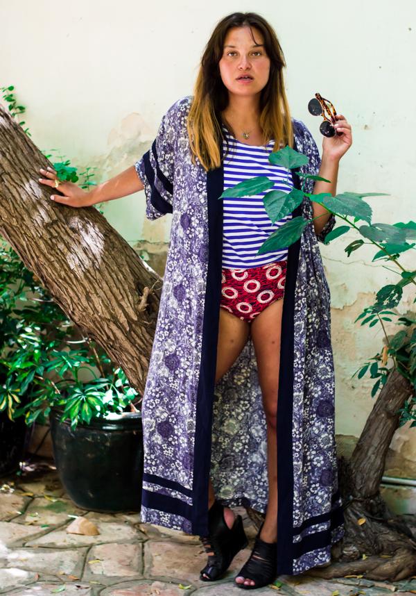 Wearing Commes de Garcons top, H&M kimono, Stadium panties and Acneheels. Shot by Tomas Erdis.