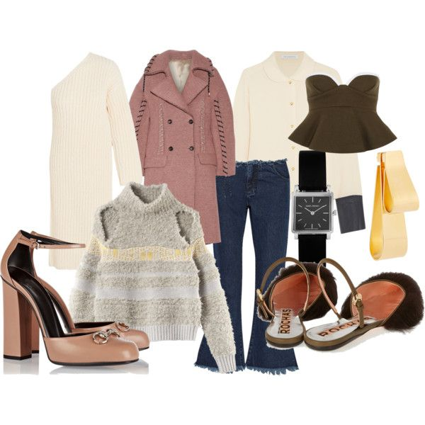 Knitted dress by Stella McCartney.Pink coat from Acne Studios. Shirt with leather details by J.W.Anderson. Peplum bustier by Marni. Knit from House of Dagmar.Denim by Marques Almeida.Isabel Marantwatch. Earring by Marni. Horsebit heels from Gucci.Furry slippers from Rochas.