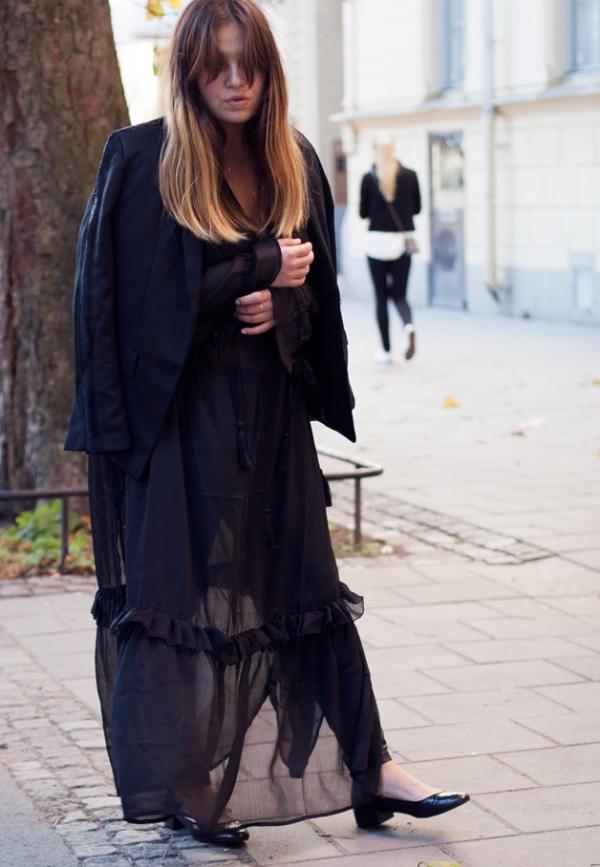 Gothic black-on-black - Glitter ballerinas, dress and jacket.