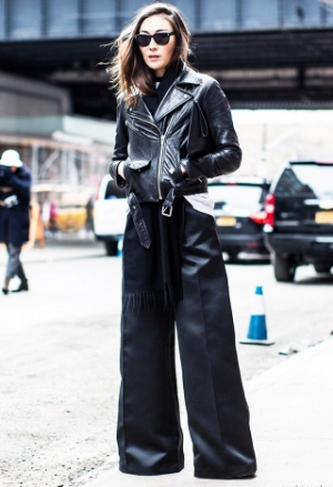 Leather biker and oversized flares.