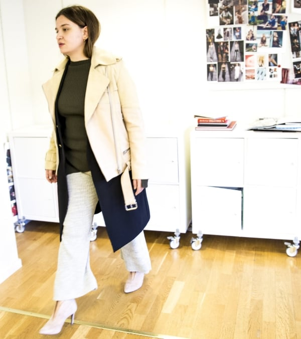 Acne Studios jacket. Stella McCartney knit. Carin Wester knitted pants. Notabene shoes.