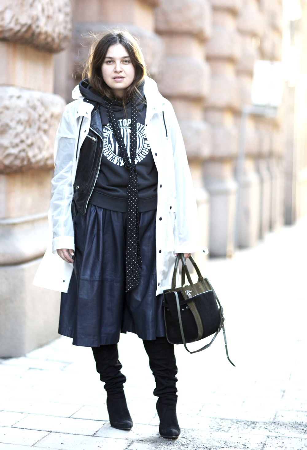 Coat by Brixtol x Official Gallery. Leather jacket from Shock. Sweater from Gina Tricot. Leather culottes by 2nd Day. Skinny scarf from Zara. Over the knee boots, H&M. Bag by Zadig et Voltaire.