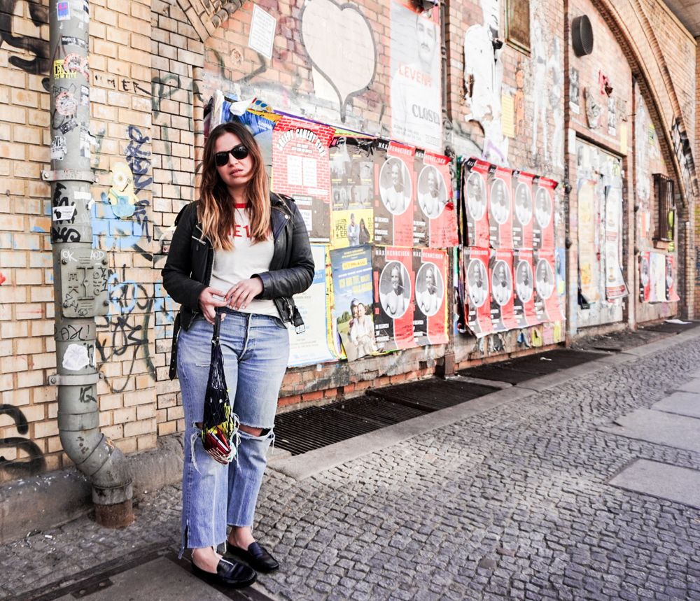 Leather from Shock, top from Gina Tricot, slippers from G.H Bass, netbag vintage. Shot by Elsa Ekman.