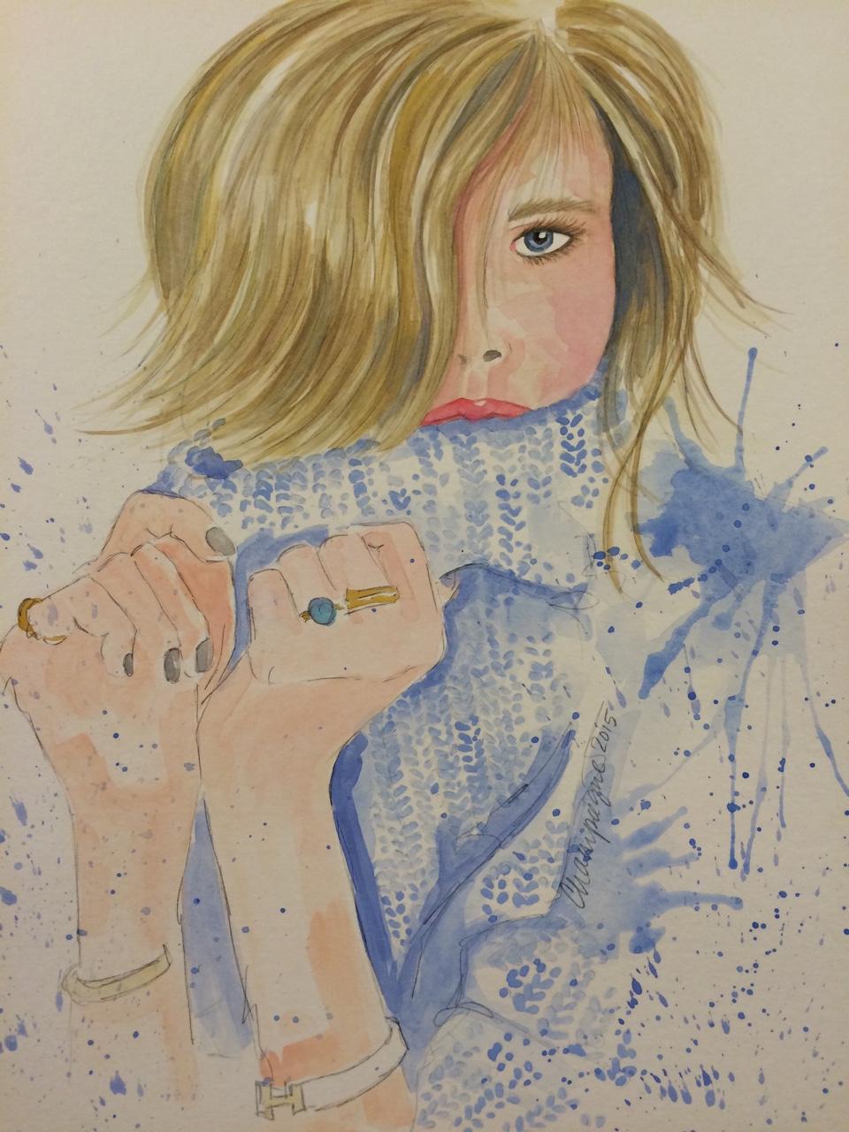 Tumblr girls no 3 watercolor on paper original nfs prints