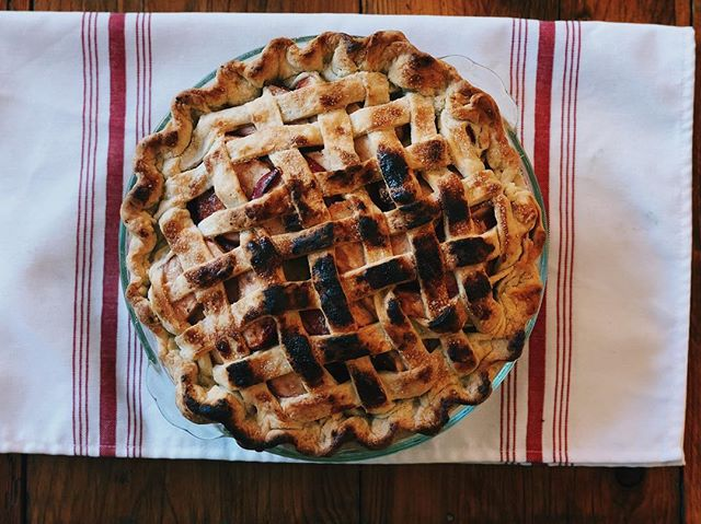 Sometimes your burn a pie. But it's not always a bad thing. We'll call this one smokey, spicy apple pie. We threw in some bronze fennel vodka too because that's what happens when you bake at the farm. #fall #fallbaking #applepie #piebabe #farmpie #pie