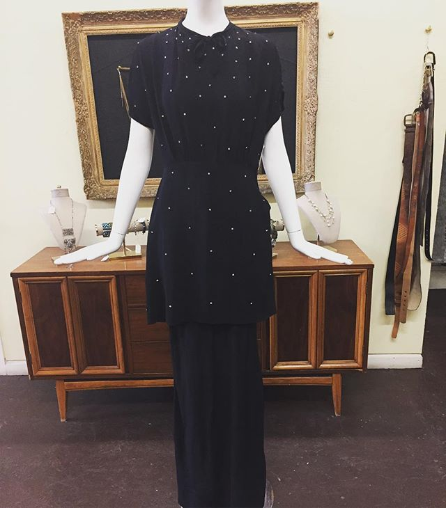 1930s black crepe peplum dress embellished in crystals in pristine condition #oneofakind #vintageshop #downtownsac #1930s #vintagedress