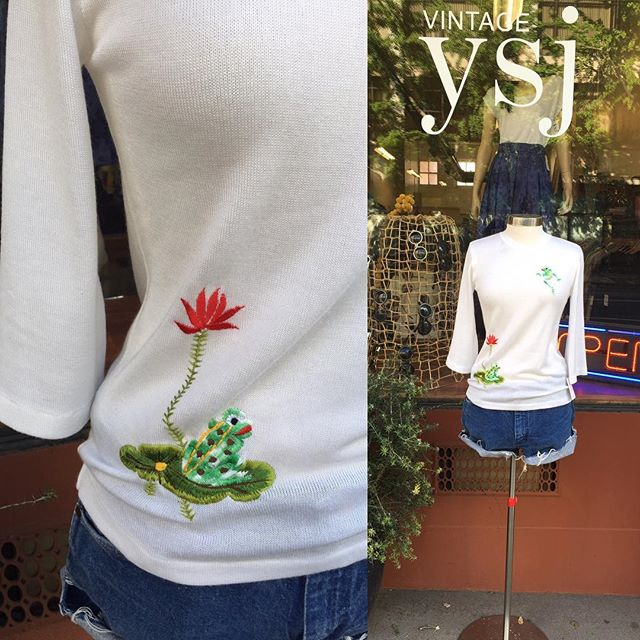 1970's embroidered vintage top. Hop to it before it's gone! 🐸 #vintageshop #downtownsac #vintagecutoffs #frog