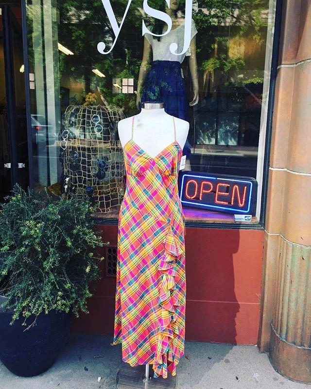 Maxi plaid cotton Ralph Lauren dress #vintageshop #downtownsac #maxidress #ralphlauren
