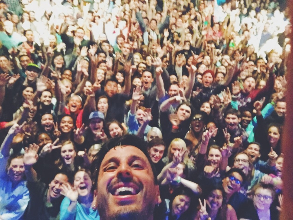 Ryan with the crowd in Norfolk