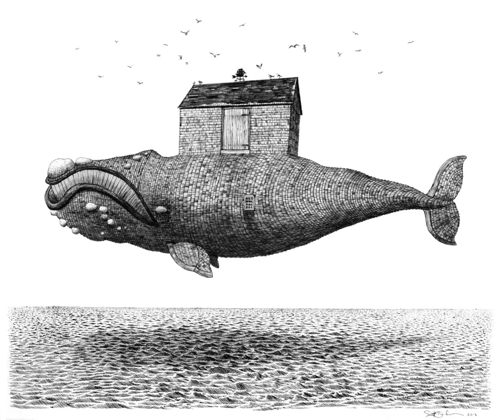 """House of the Whale    ink on paper  12"""" x 16""""  2013  Available as a hand-colored solarplate etching on cotton rag paper, edition of 12.  (original sold)"""