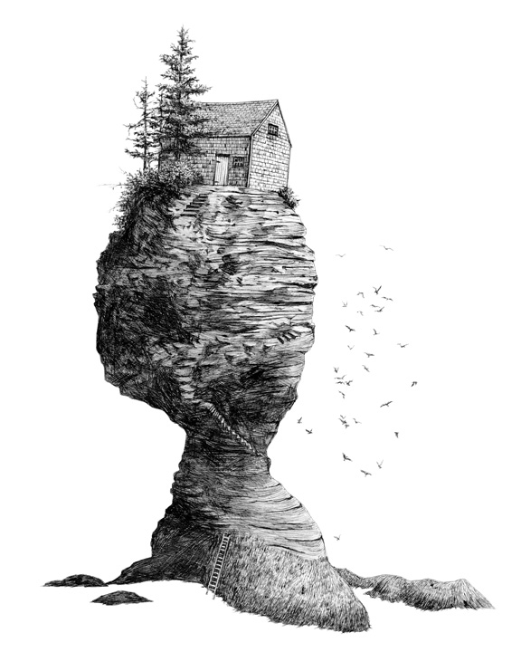 "Hermit's Rock    ink on paper  14"" x 11""  2014  Available as an archival digital print on cotton rag paper, 16"" x 20"", edition of 50  (original sold)"
