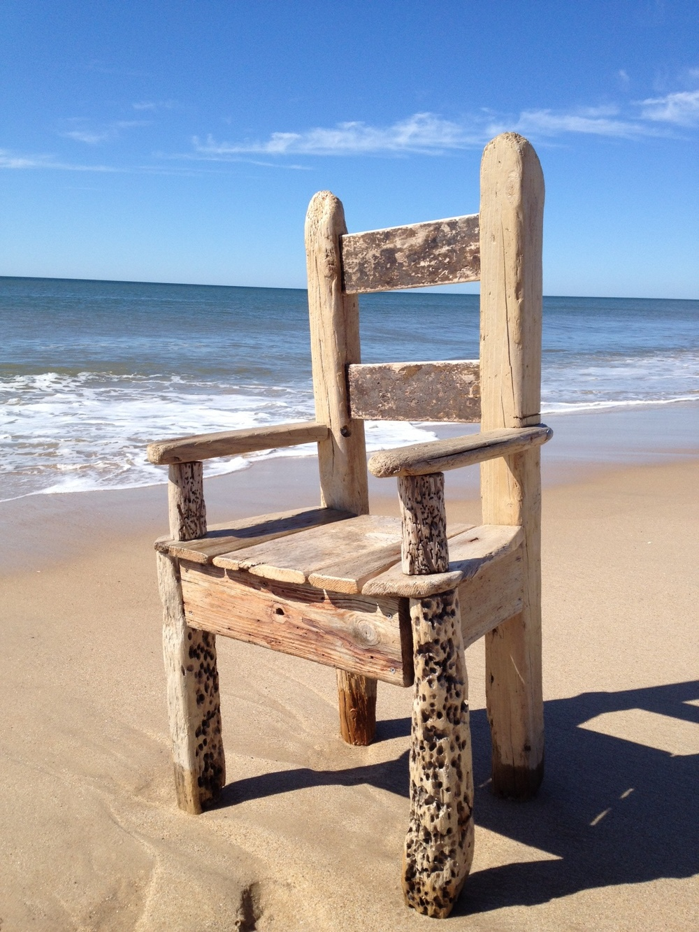 "Sea Throne    driftwood and vintage furniture tacks  42"" x 26"" x 18""  2012  (sold)"