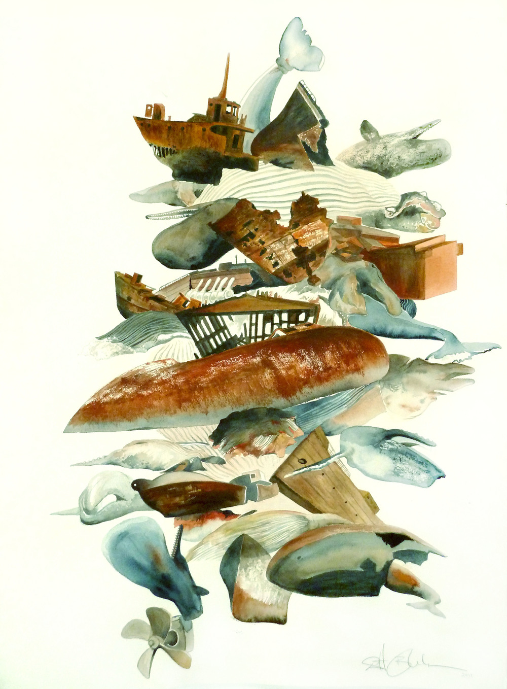 """Eulogy for Cetaceans    Watercolor on arches paper  30"""" x 20""""  2011  (sold)"""