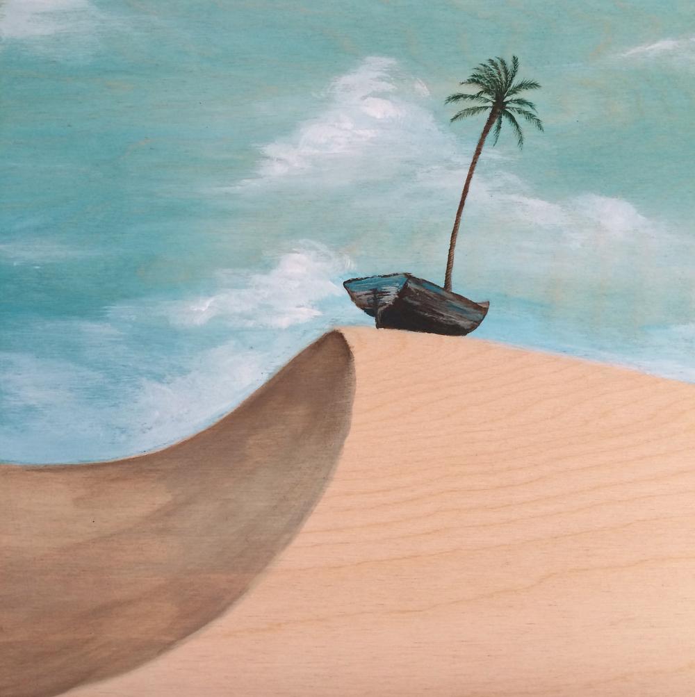 """No Oasis    Acrylic on wood panel  10"""" x 10""""  2014  (sold)"""