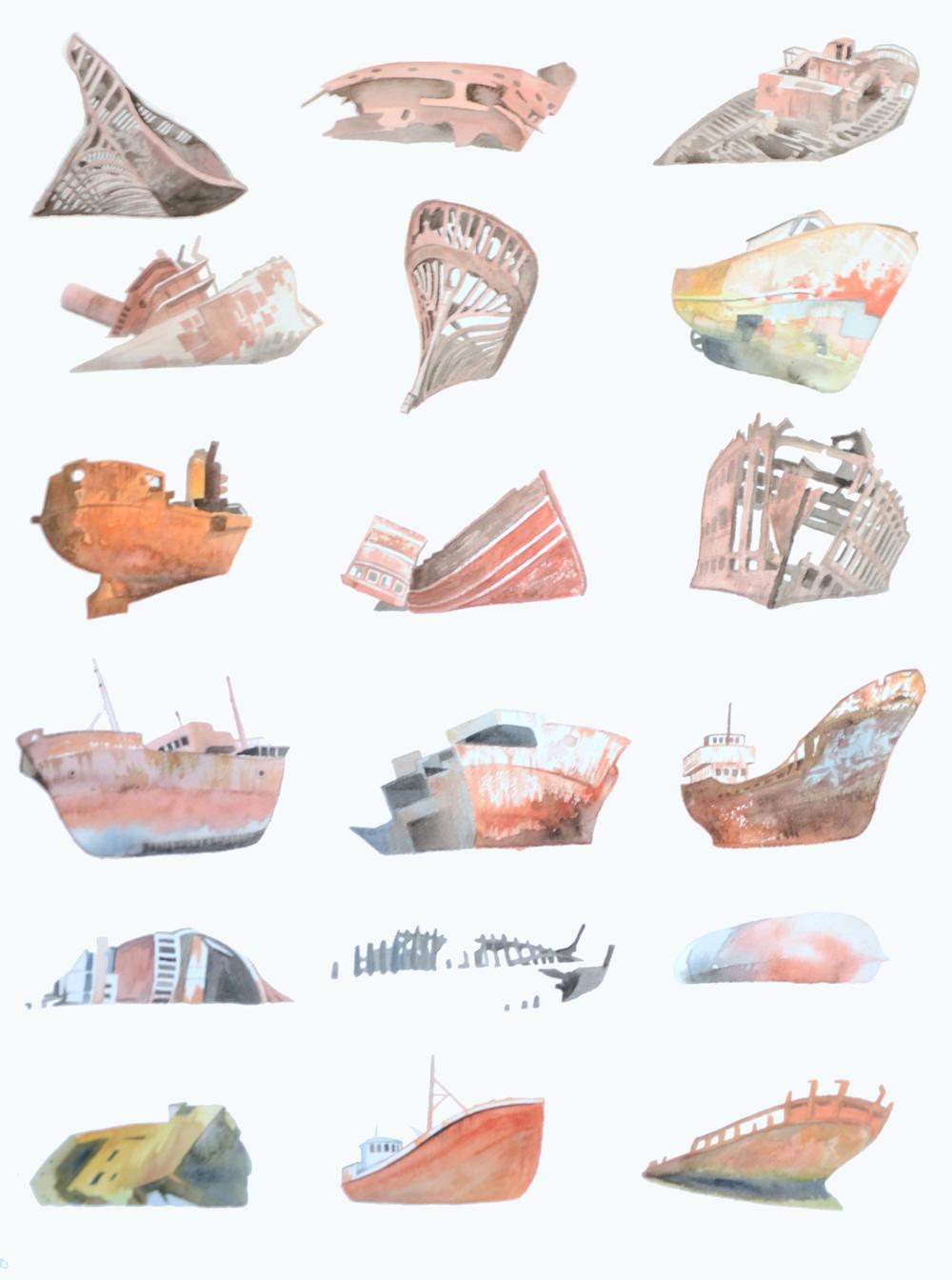 """Eighteen Wrecks    Watercolor on paper  30"""" x 24""""  2011  (sold)"""