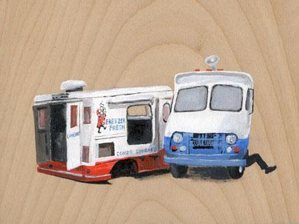 "Ice Cream Trucks    Acrylic on wood  5"" x 7""  2008  (available)"