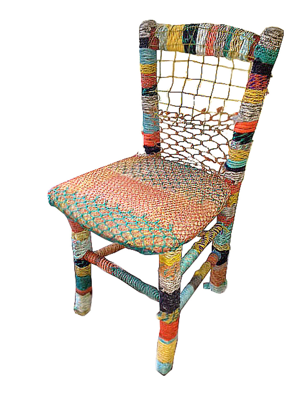 "Warp Chair    found warp line, fishing net, bait trap, dining chair  36"" x 22"" x 18""  2012  (sold)"