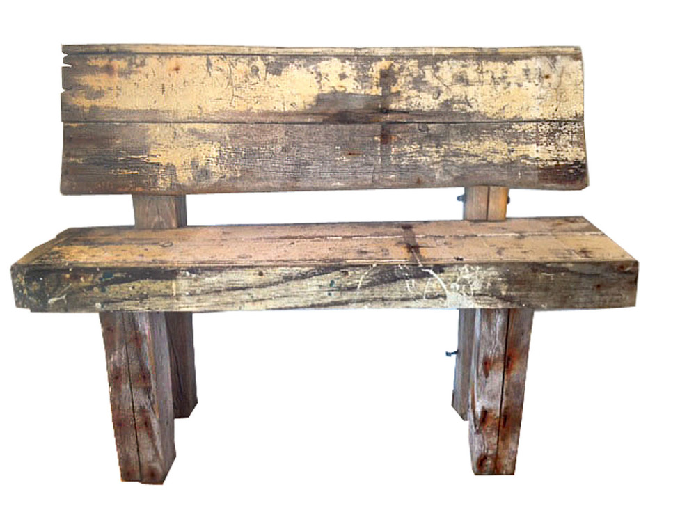 "Deck Bench    driftwood and reclaimed wood  32"" x 44"" x 16""  2012  (available)"