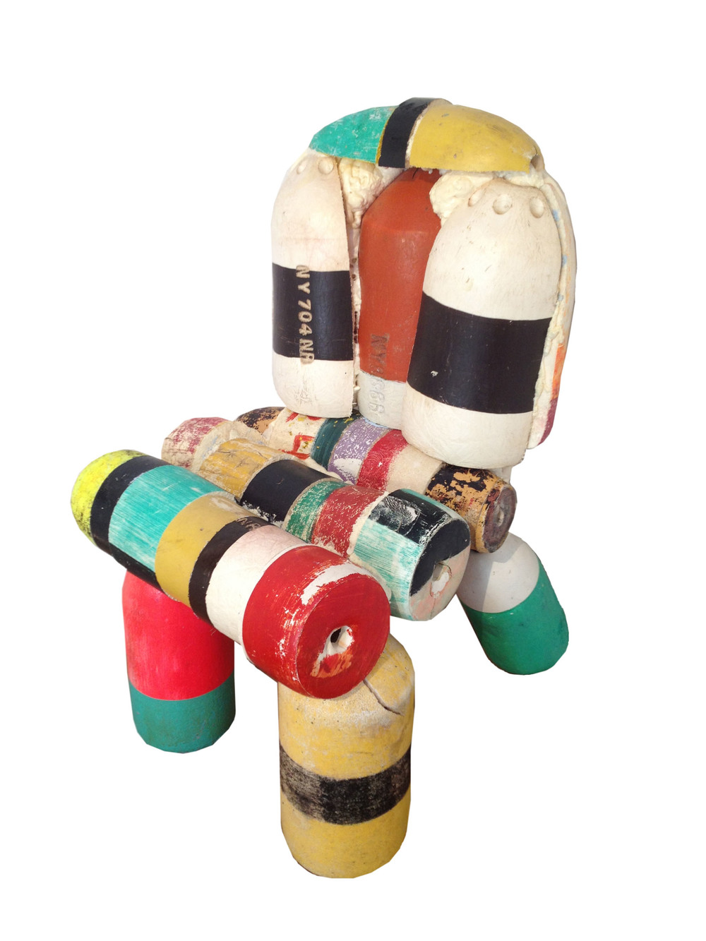 "Buoy Chair    found buoys, chair frame  36"" x 28"" x 32""  2013  (sold)"